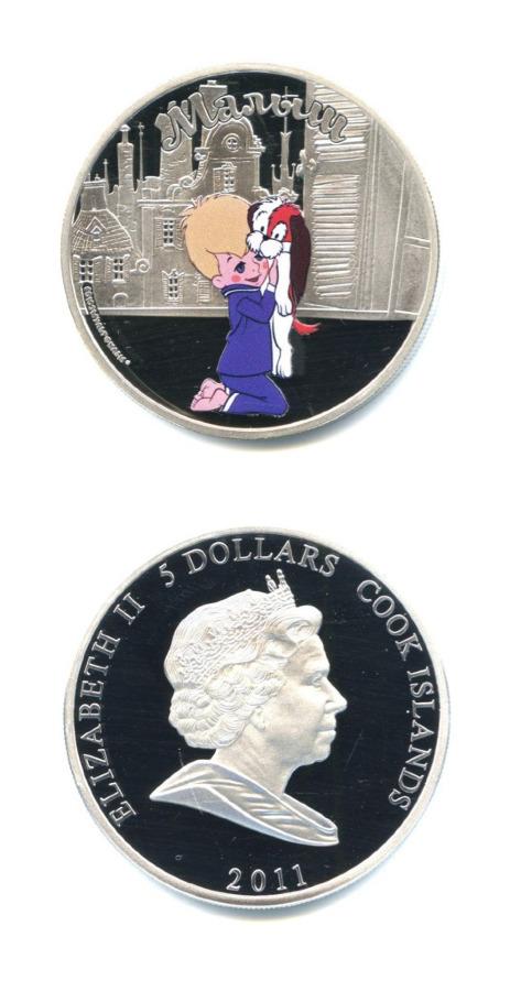 5 долларов «Союзмультфильм 75 лет» - «Малыш», воригинальной коробке, ссертификатом подлинности, Острова Кука 2011 года