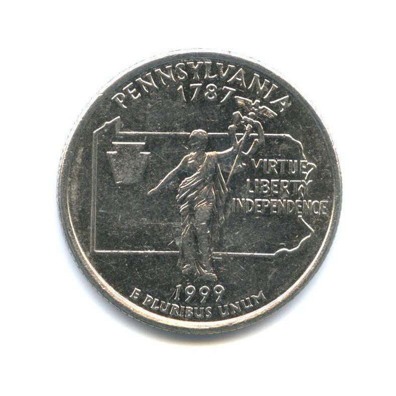 25 центов (квотер) — Квотер штата Пенсильвания 1999 года D (США)