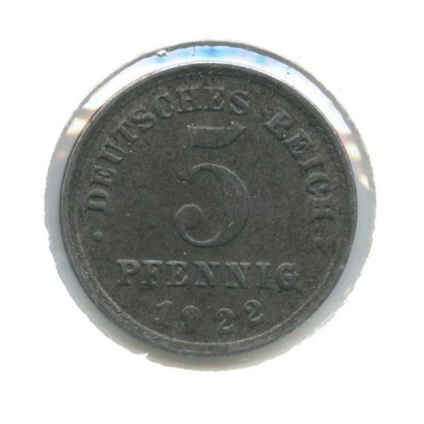 5 пфеннигов (в холдере) 1922 года F (Германия)