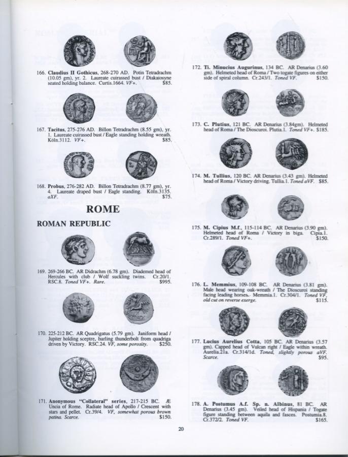 Каталог аукциона нумизматики №110 «Historia Numismata», 58 стр 1998 года (США)