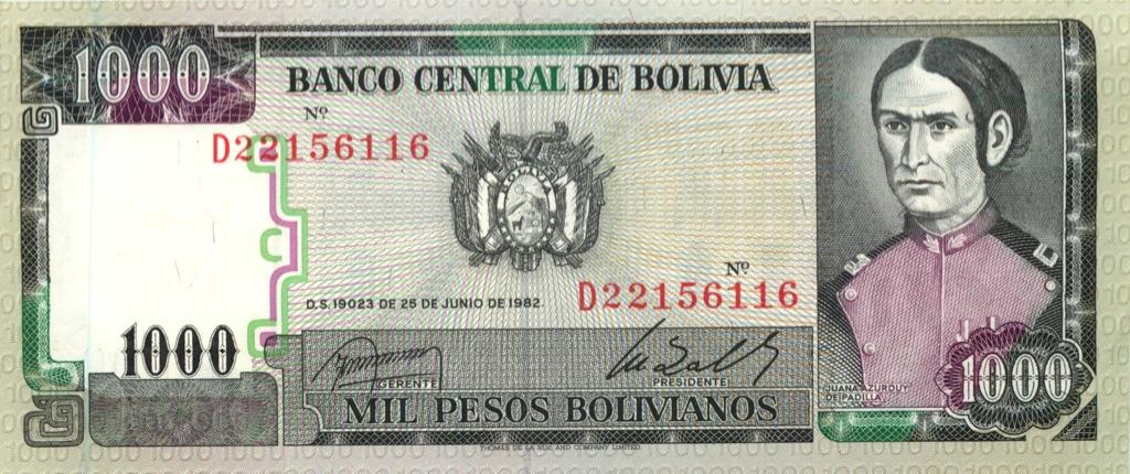 1000 песо 1982 года (Боливия)