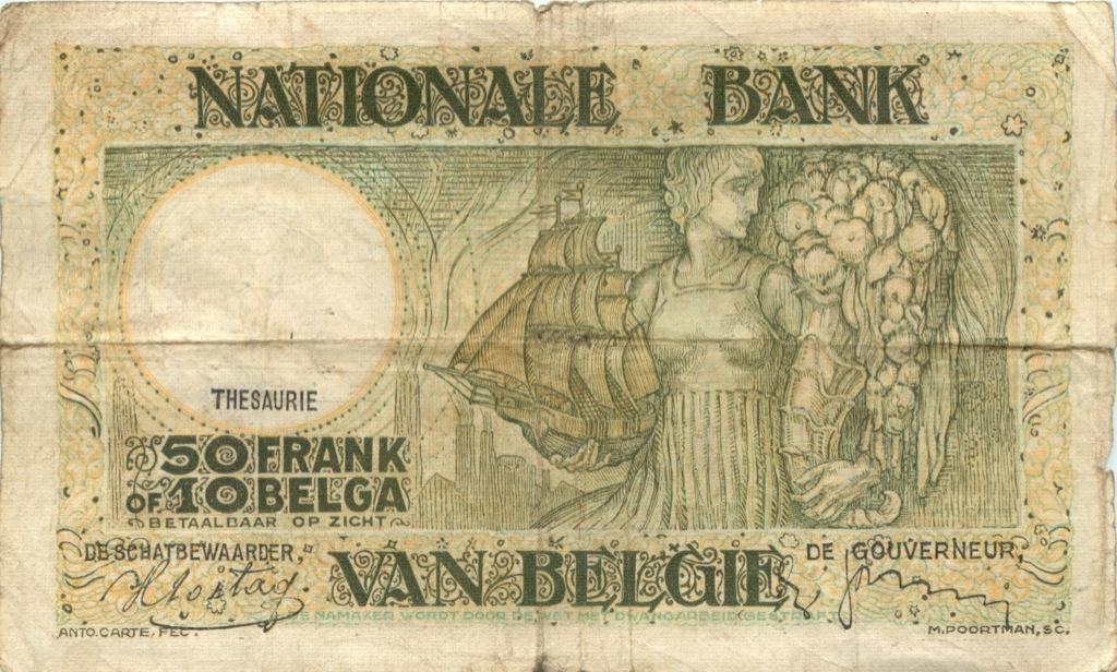 50 франков 1938 года (Бельгия)