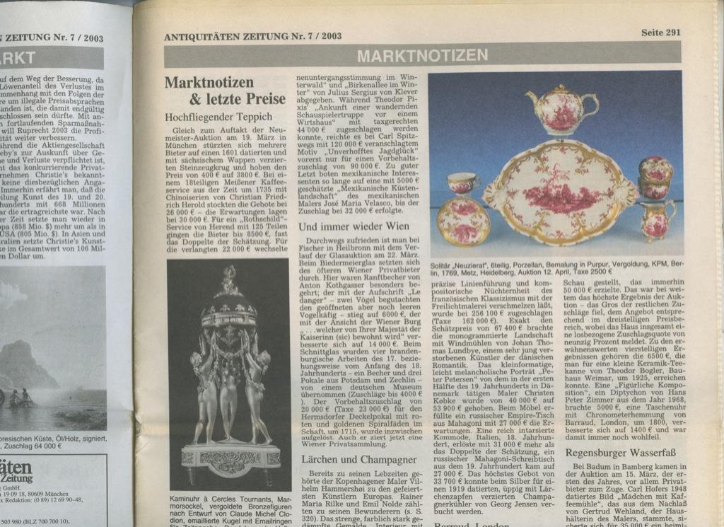 Газета «Antiquitaten Zeitung», 40 стр. 2003 года (Германия)