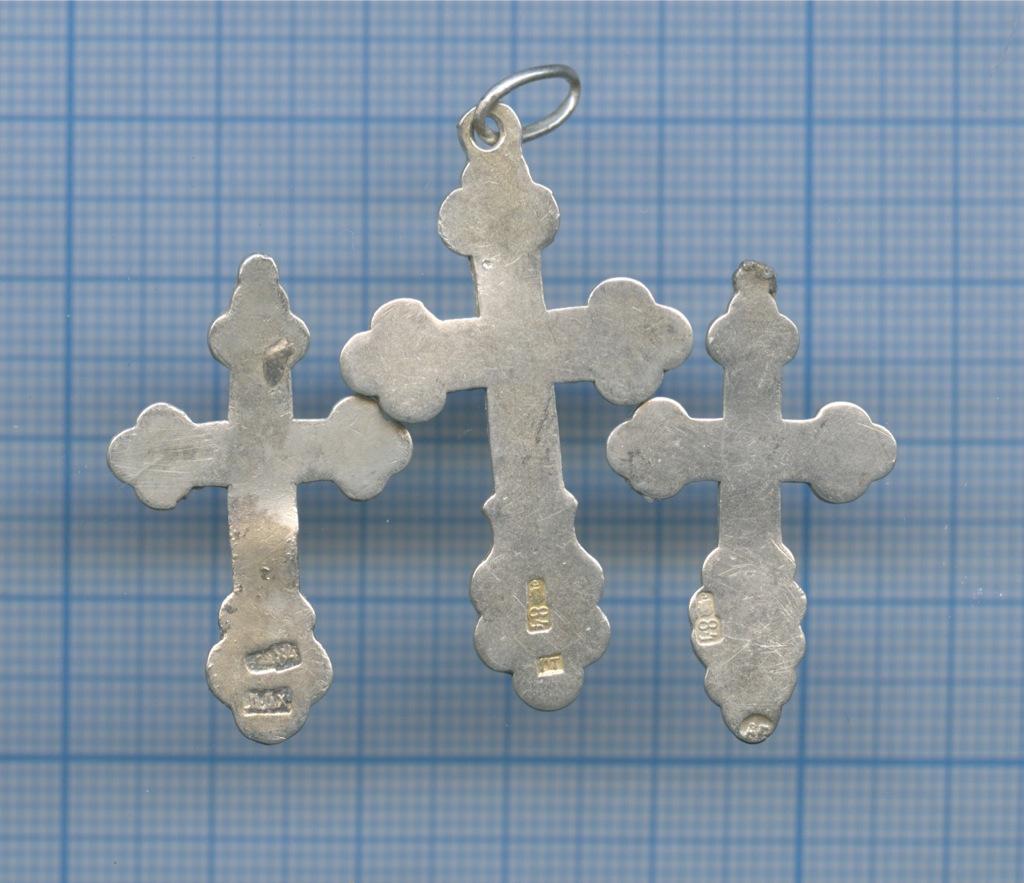 Набор крестиков нательных (84-я проба серебра) (Российская Империя)