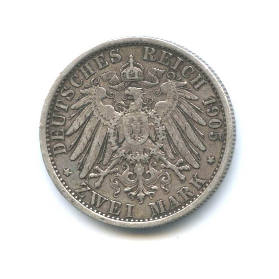 2 марки - Вильгельм II (Пруссия) 1905 года