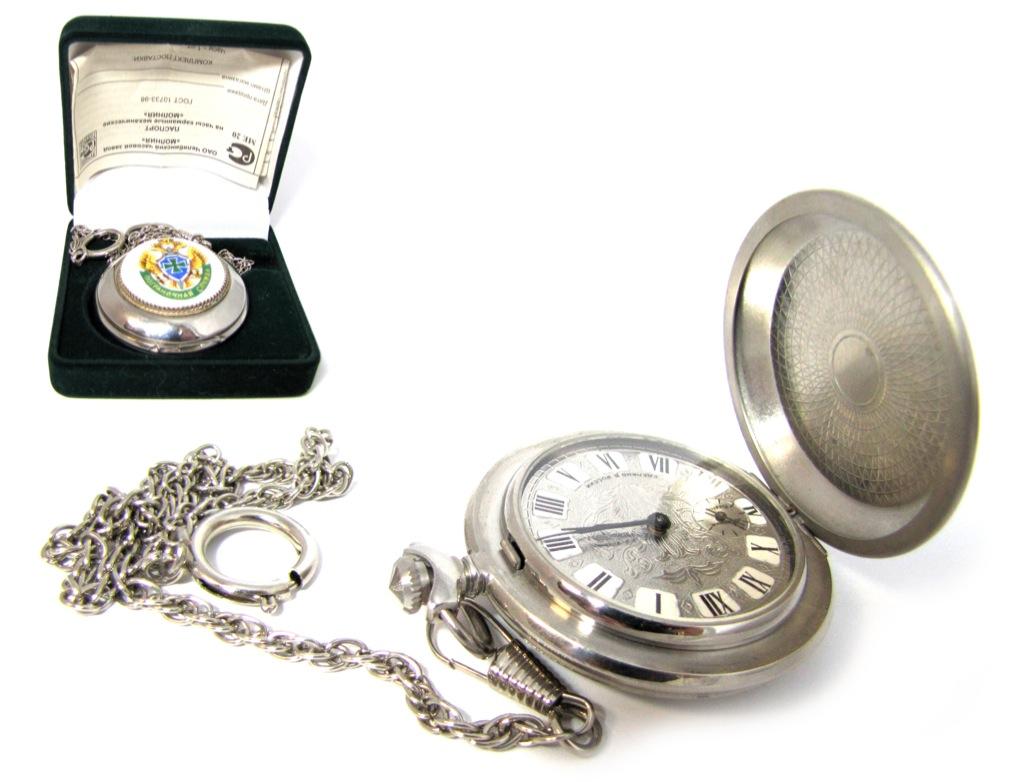 Часы карманные механические, Челябинский часовой завод «Молния» (вкоробке, спаспортом) 2007 года (Россия)