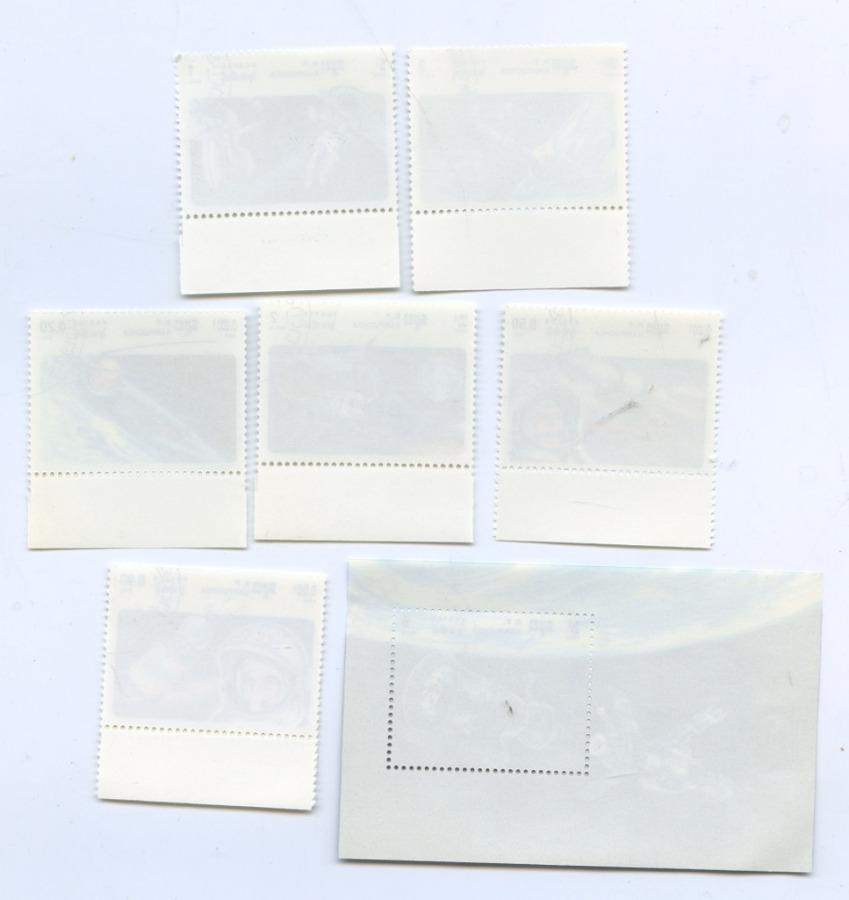Набор марок сблоком «Космос» (Республика Кампучия)