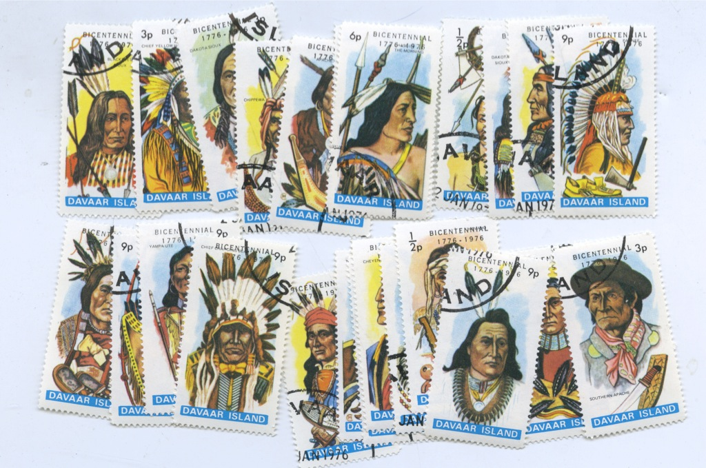 Набор почтовых марок «Индейцы», Даваар (24 шт.)