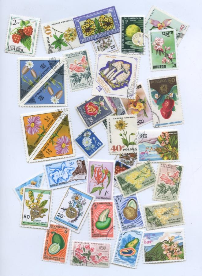 Набор почтовых марок «Флора», разные страны (34 шт.)