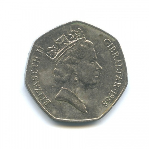 50 пенсов, Гибралтар 1988 года