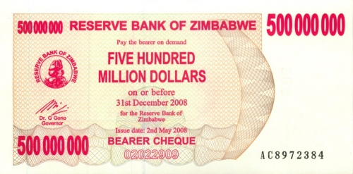 500 миллионов долларов (Зимбабве) 2008 года