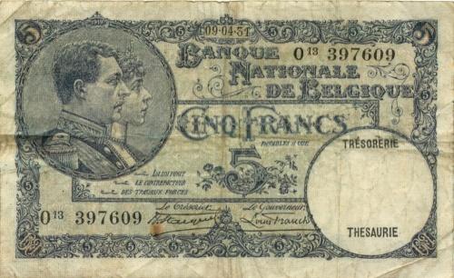 5 франков 1931 года (Бельгия)