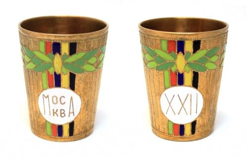 Стопка «Олимпийские игры, Москва 1980», латунь, 5 см (СССР)