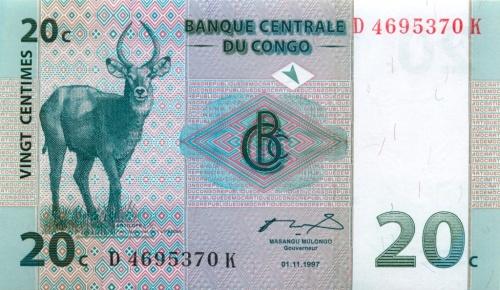 20 сантимов (Конго) 1997 года