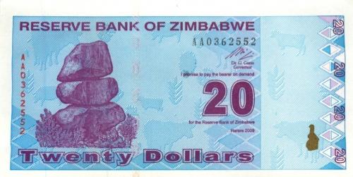20 долларов (Зимбабве) 2009 года