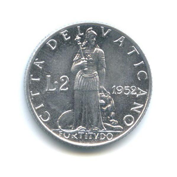 2 лиры - Фигура Отваги 1952 года (Ватикан)