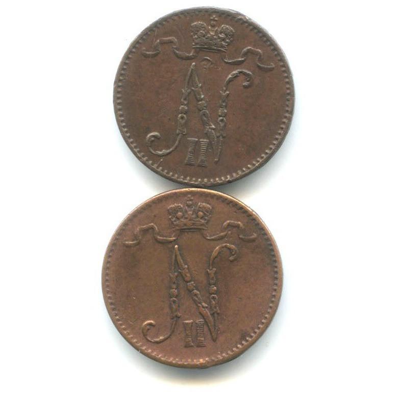 Набор монет 1 пенни 1900, 1912 (Российская Империя)