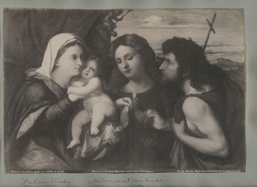Лист альбомный сфотографией «Maria mit dem Kinde und zwei Heiligen» (34×24 см) (Германия)