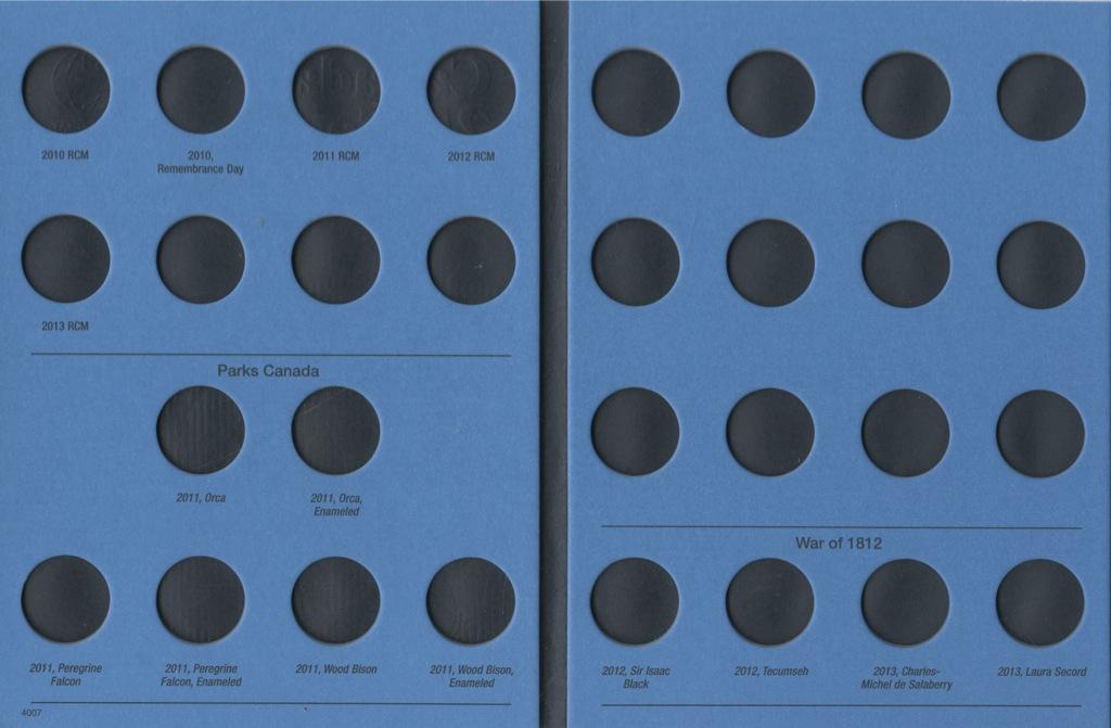 Альбом-планшет для монет «Canada 25 cents, 2010» (46 ячеек)