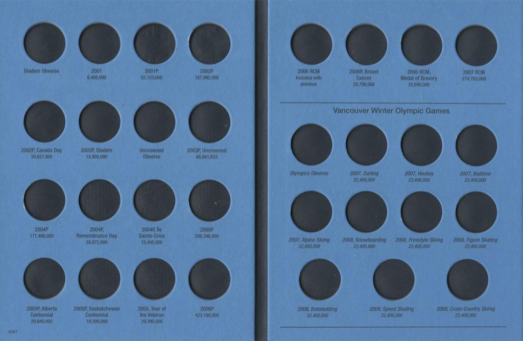 Альбом-планшет для монет «Canada 25 cents, 2001-2009» (44 ячейки)