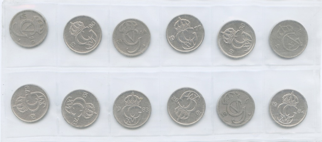 Набор монет 50 эре, взапайке (Швеция)