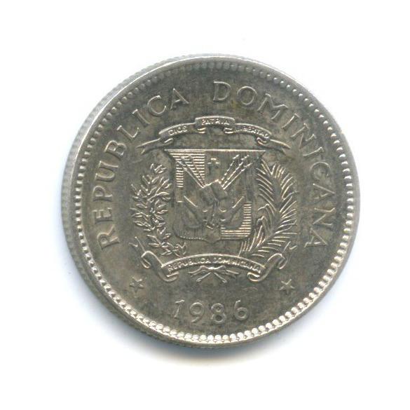 10 сентаво - Дуарте Хуан Пабло (1813—1876) - доминиканский патриот, создатель тайного общества «Тринитария», Доминиканская Республика 1986 года