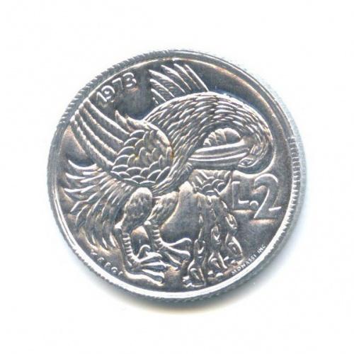 2 лиры - Пеликан 1973 года (Сан-Марино)