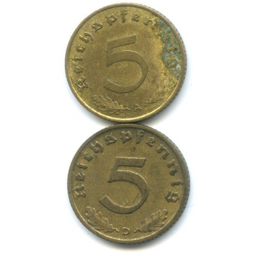 Набор монет 50 рейхспфеннигов 1938, 1939 (Германия (Третий рейх))
