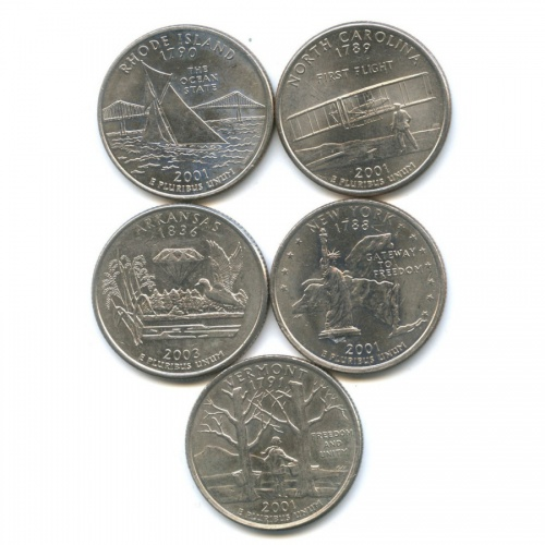 Набор монет 25 центов (квотер) - Штаты итерритории 2001, 2003 (США)