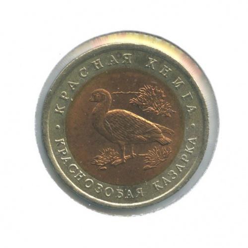 10 рублей — Красная книга - Краснозобая казарка (в холдере) 1992 года (Россия)