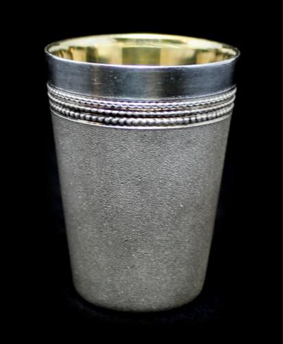 Стопка, мельхиор, серебрение, золочение, 5,5 см