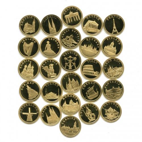 Набор монет 12 долларов - Европейские столицы, Либерия (26 шт., вкоробке, ссертификатом) 2008 года