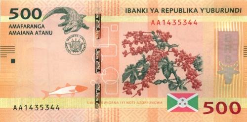 500 франков (Бурунди) 2015 года