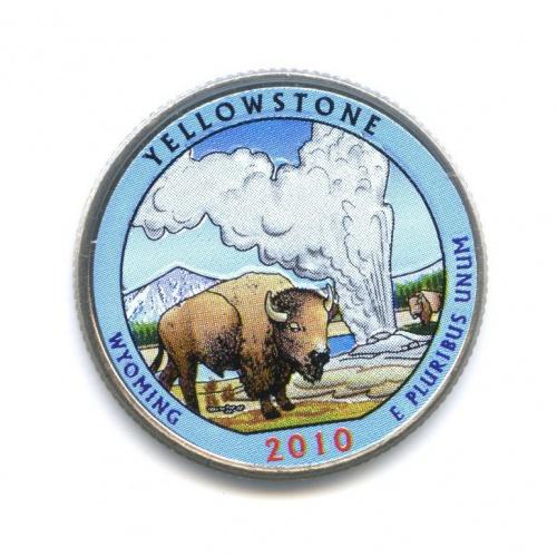 25 центов (квотер) — Национальный парк Йеллоустоун, вцвете 2010 года D (США)