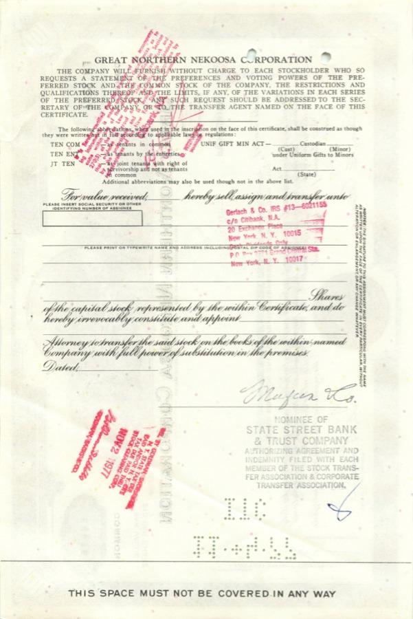 100 акций («Great Northern Nekoosa Corporation») 1970 года (США)