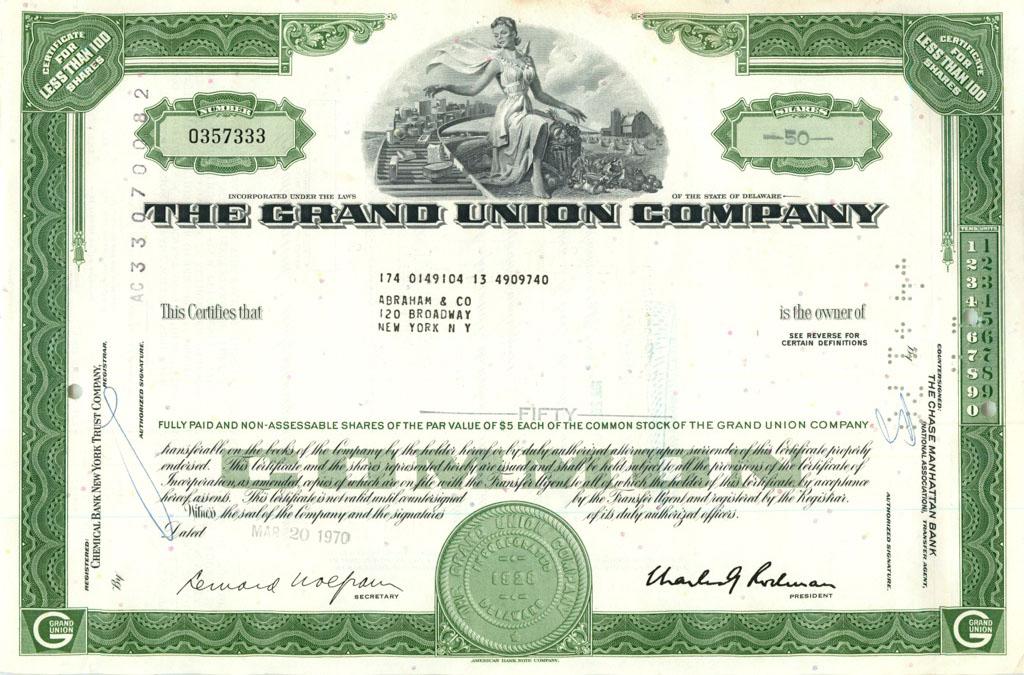 50 акций («The Grand Union Company») 1970 года (США)