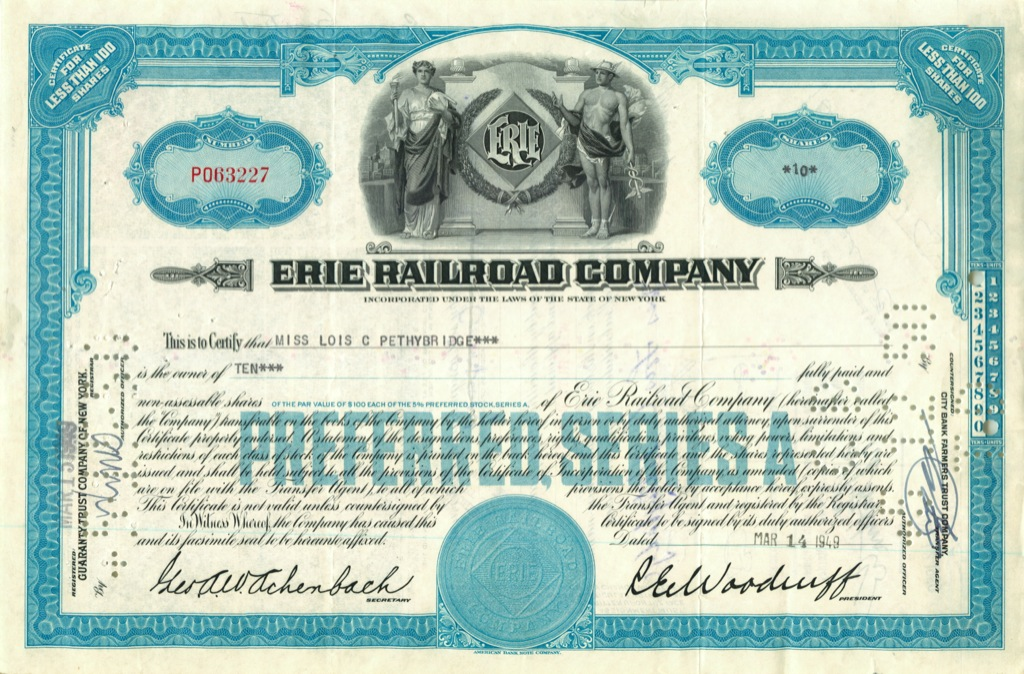 10 акций («Erie Railroad Company») 1949 года (США)