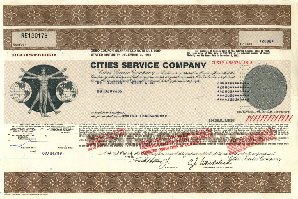 2000 акций («Cities Service Company») 1989 года (США)