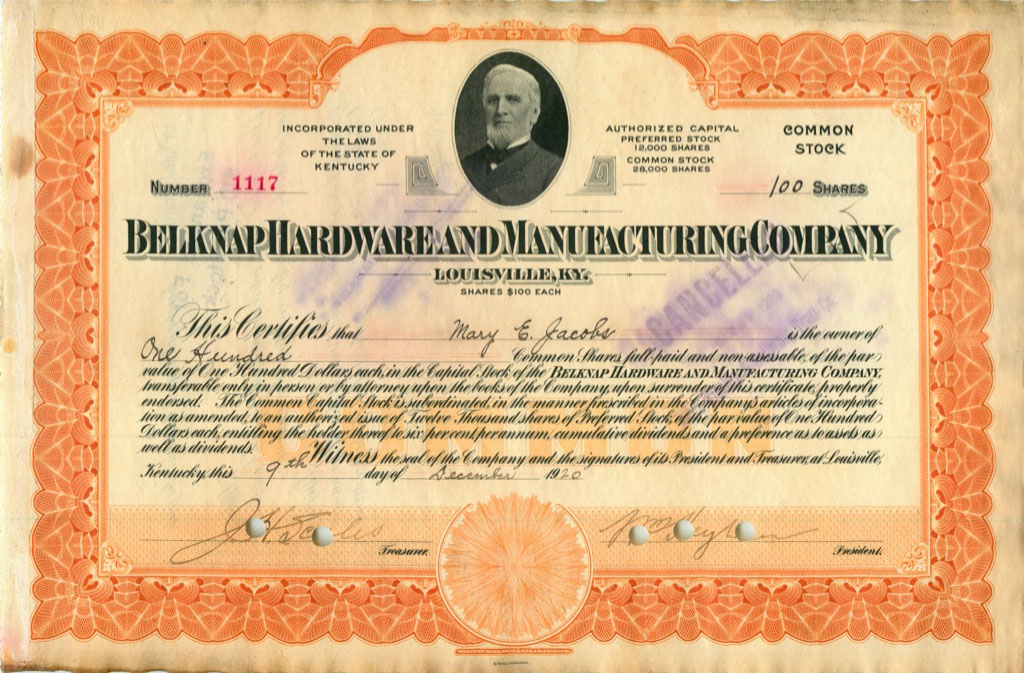 100 акций («Belknap Hardware And Manufacturing Company») 1920 года (США)