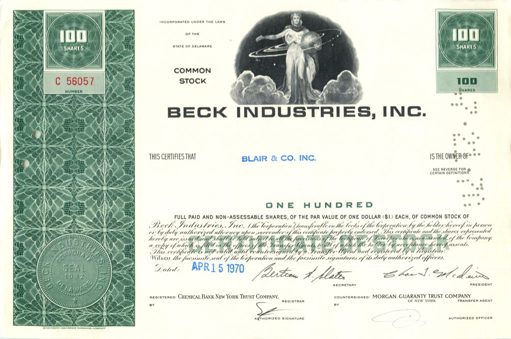 100 акций («Beck Industries, Inc») 1970 года (США)