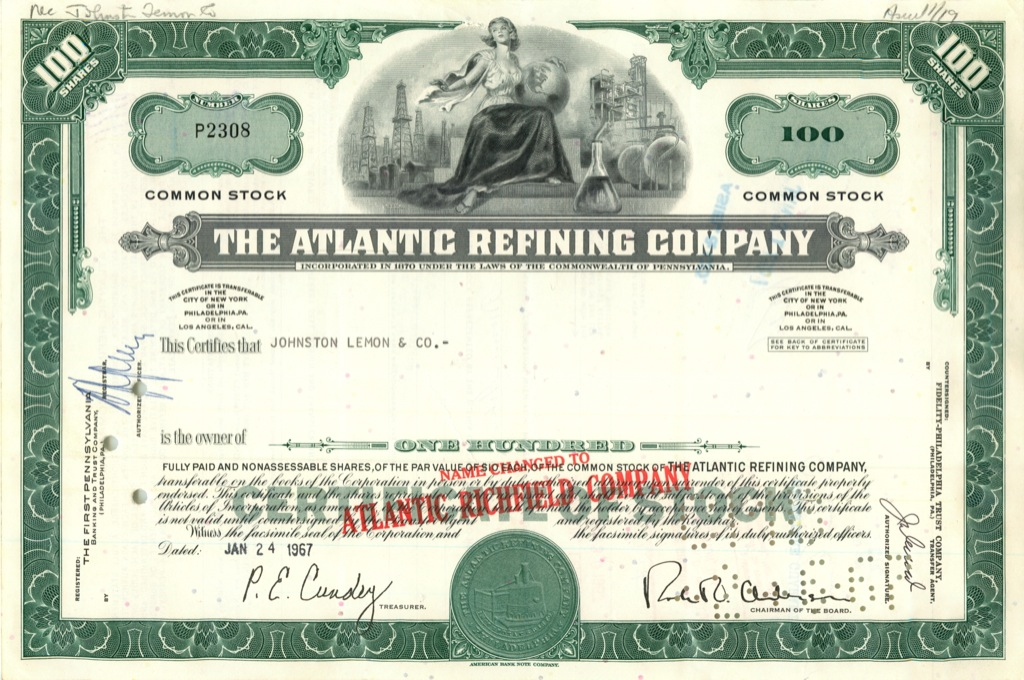 100 акций («The Atlantic Refining Company») 1967 года (США)