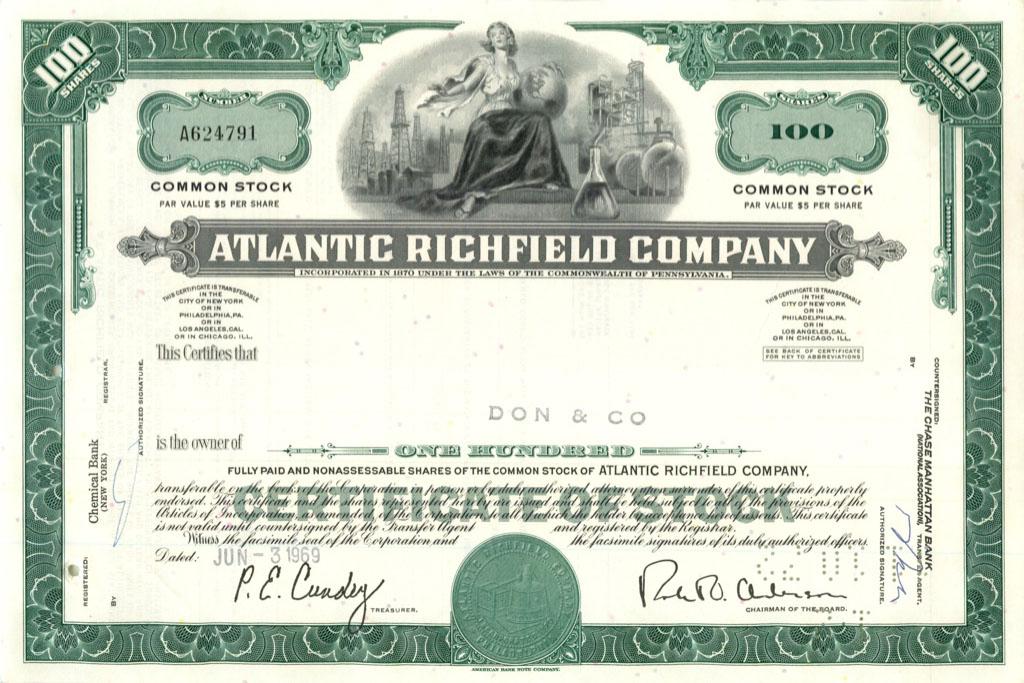 100 акций («Atlantic Richfield Company») 1969 года (США)