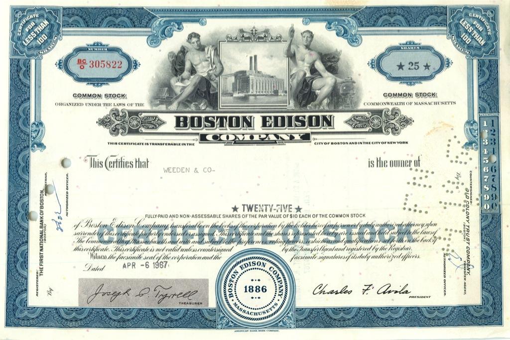 25 акций («Boston Edison») 1967 года (США)