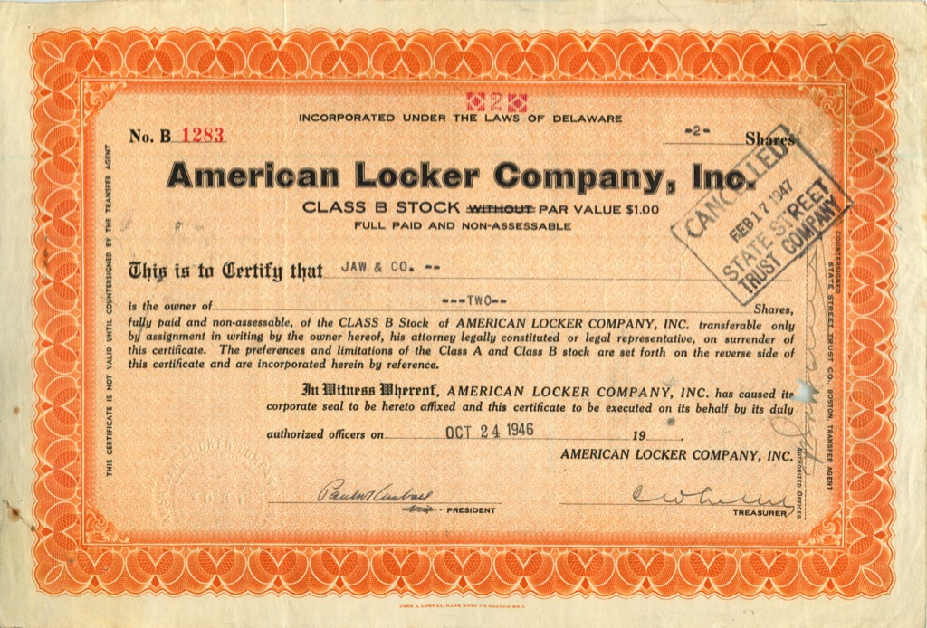 2 акции («American Locker Company, Inc») 1946 года (США)