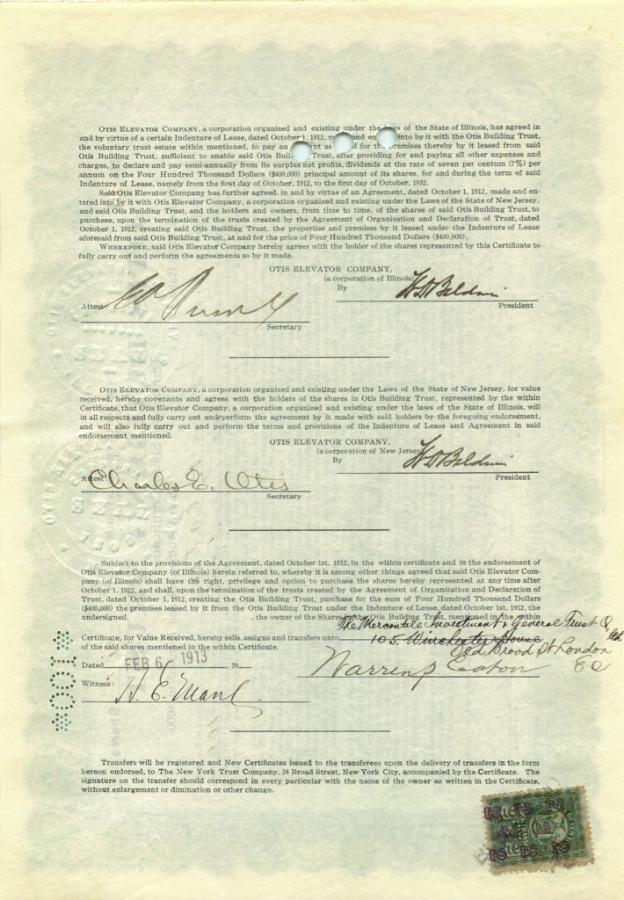 100 акций («Otis Building Trust») 1912 года (США)
