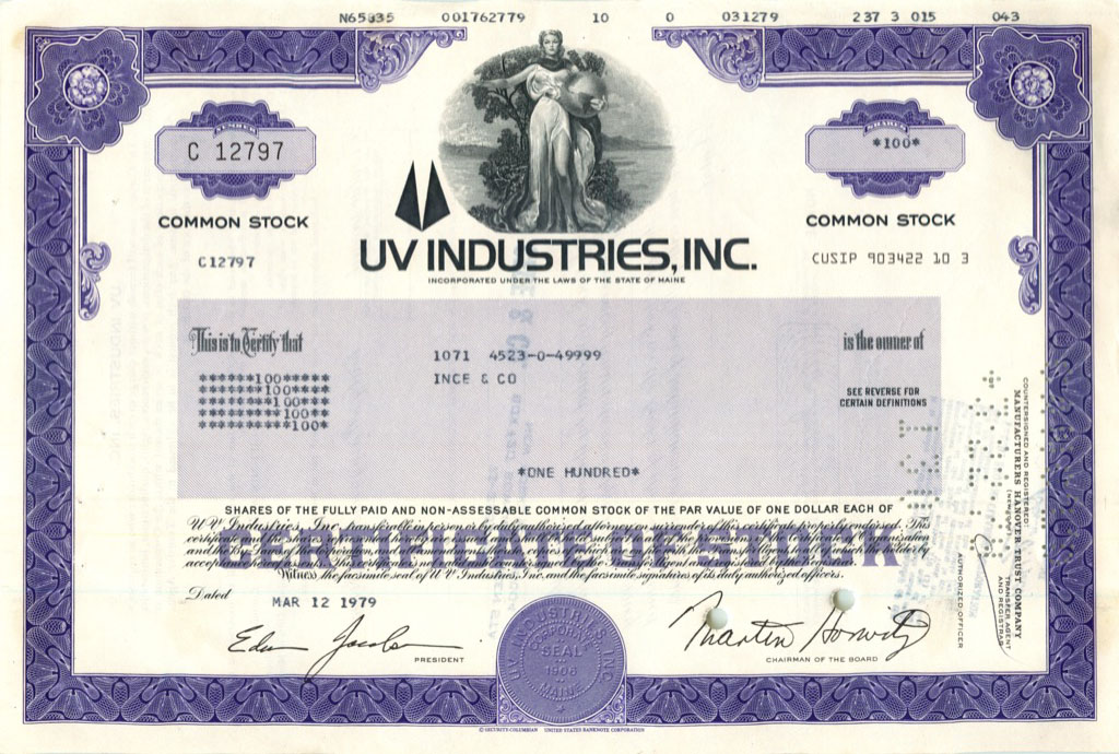 100 акций («Uv Industries, Inc») 1979 года (США)