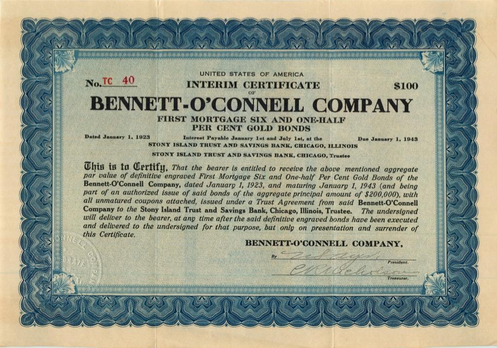 100 долларов (акция «Bennett-O′Connell Company») 1943 года (США)