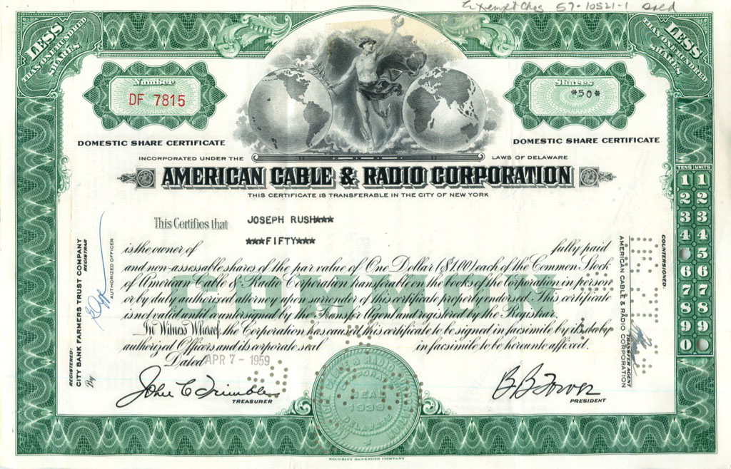 50 акций («American Cable & Radio Corporation») 1959 года (США)
