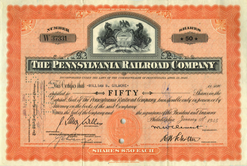 50 акций («The Pennsylvania Railroad Company») 1945 года (США)