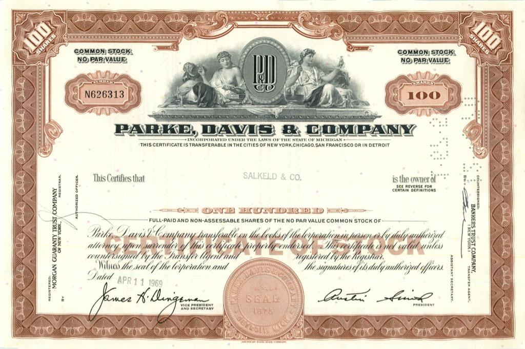 100 акций («Parke, Davis & Company») 1969 года (США)